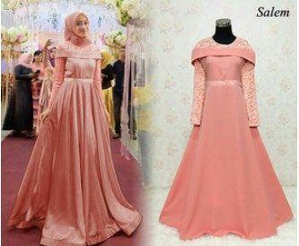 Gaun Pesta Muslimah Elegan Sabrina Maxy Salem Proyek Untuk Dicoba