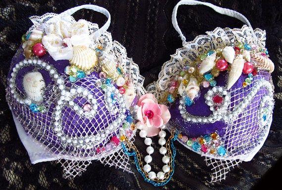 DIY mermaid top/bra....hot glue netting, beads, flowers, lace, shells, jewels etc.