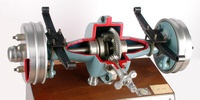 A DIFFERENTIAL MECHANISM in a motor vehicle rear axle is called axle differential and causes for the compensation of the rotational speeds between the two wheels.