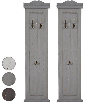 Set de 2 percheros en estilo vintage en color gris