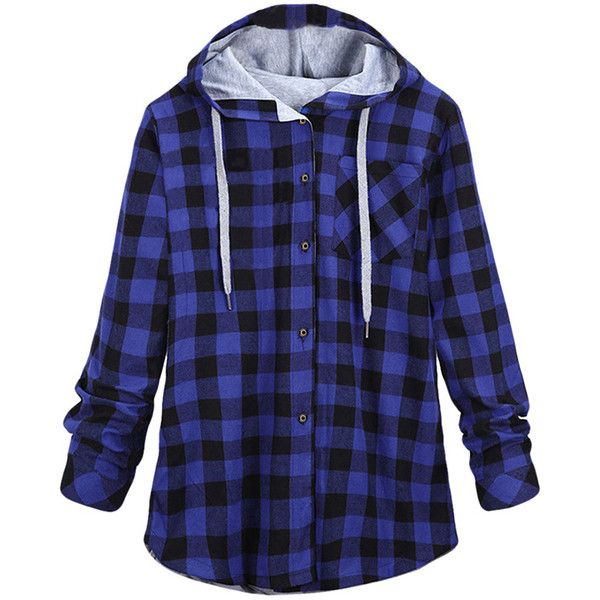 Womens Long Sleeve Single-breasted Plaid Hoodie Blue (£22) ❤ liked on Polyvore featuring tops, hoodies, blue, sweatshirts hoodies, long sleeve hooded sweatshirt, blue hoodie, blue top and blue hooded sweatshirt