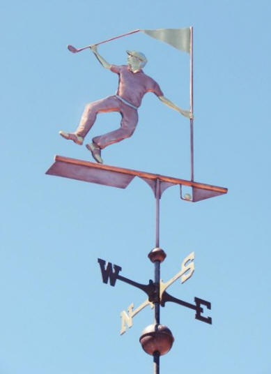 Happy Golfer Weathervane by West Coast Weather Vanes. This unique, handcrafted, custom made, Happy Golfer weathervane features brass and gold leaf accents.