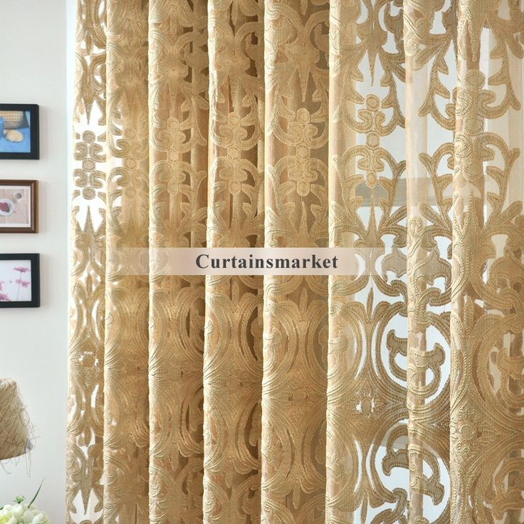 Beautiful Yarn Patterned Dark Gold Sheer Curtains Part 69
