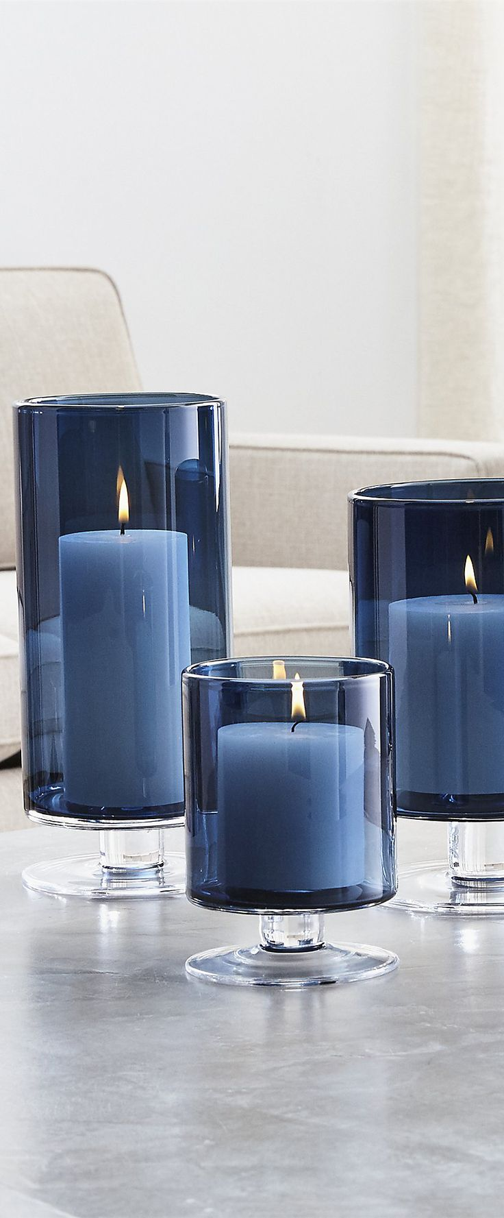 Royal blue and black bedroom - London Blue Hurricane Candles Home Decor