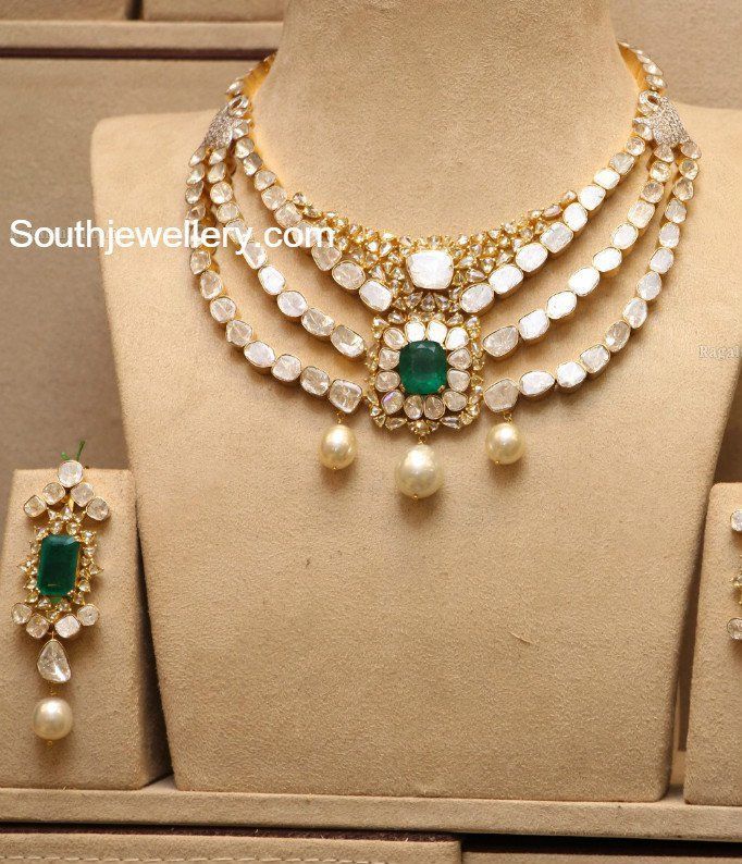 Layered Polki Diamond Necklace Set