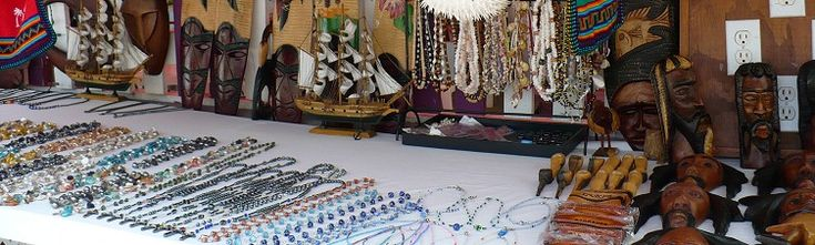 St. Lawrence Gap, Barbados Shopping. Local craft and jewelry on sale.