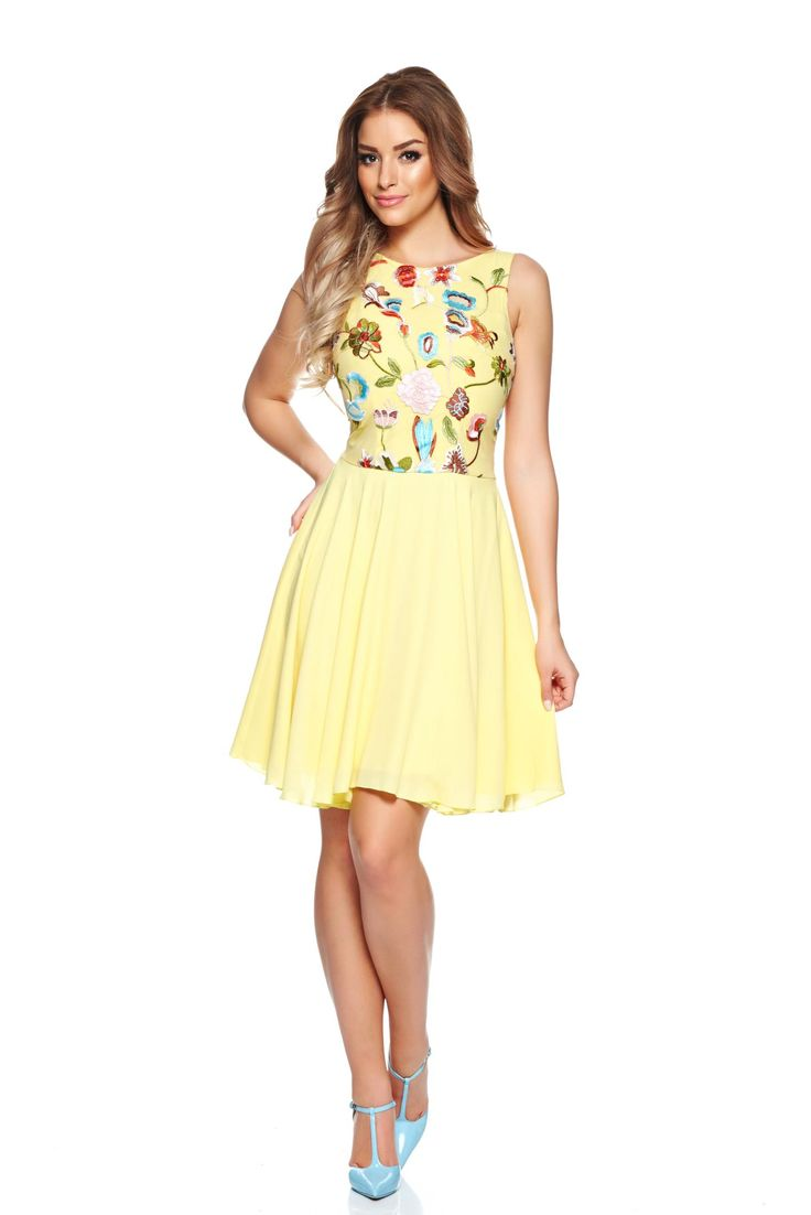LaDonna Spring Fashion Yellow Dress, embroidery details, back zipper fastening, inside lining, airy fabric, voile fabric