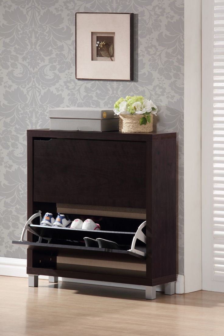 best shoe cabinets images on pinterest  shoe racks dark brown  - baxton studio simms dark brown modern shoe cabinet