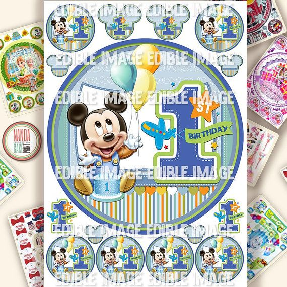 Micky Mouse 1st Birthday Edible Cake Topper. Edible Cake image