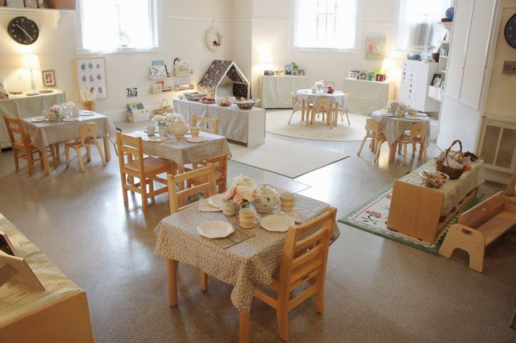Adorable room set-up for a little party at this Montessori classroom, decked out for a toddler Spring Tea