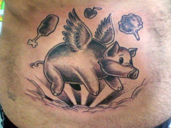 winged pig tattoo 25 Interesting Pig Tattoos