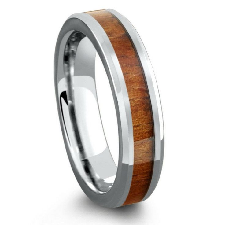 5mm handcrafted tungsten koa wood ring - Mens Wooden Wedding Rings