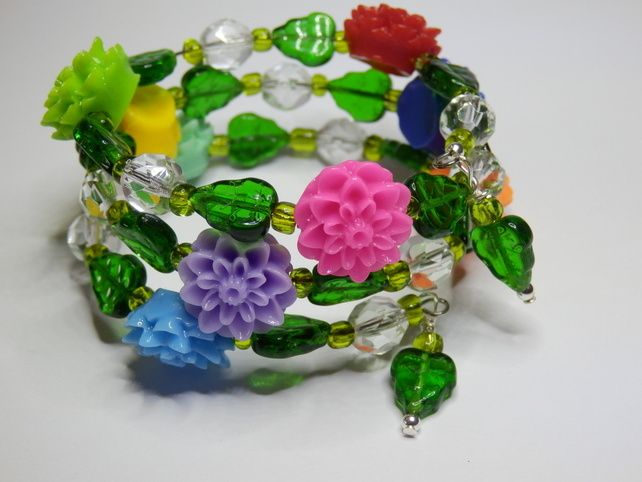 Memory Wire Bracelet - 'Flower Power'