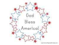 """God Bless America Wreath    Another awesome craft. w/ traceable letters """"God bless America"""""""