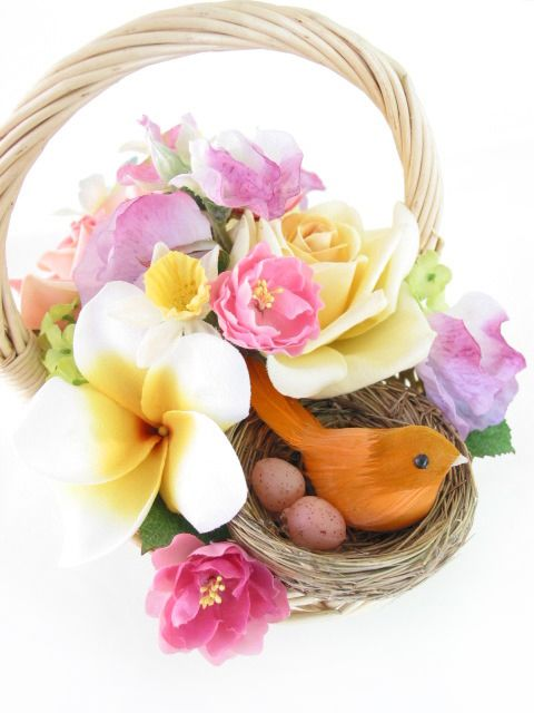 Flower basket (with a little surprise) by Loveflowers. Find your perfect wedding flowers at www.loveflowers.com.au