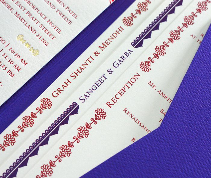elegant tiered wedding invitation inserts with indian mehendi borders in combination of printing methods