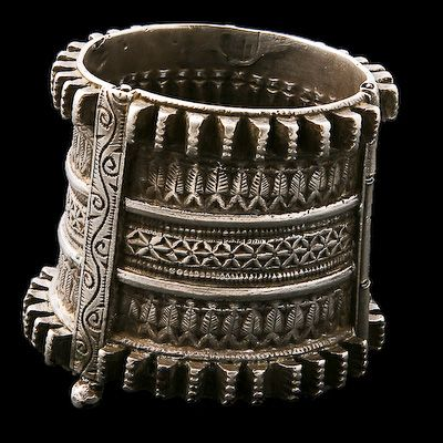 Antique Ethnic Tribal Indian Silver Bracelets - Rabari. Silver Bracelet Afghanistan Circa early 20th Century