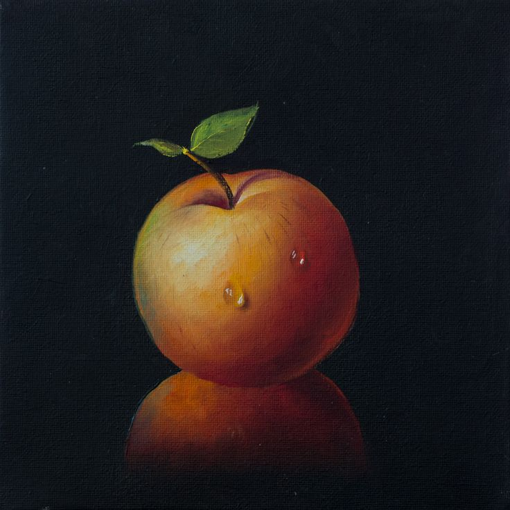 An Apple with a dew drop #Art #Oilpainting #Apple