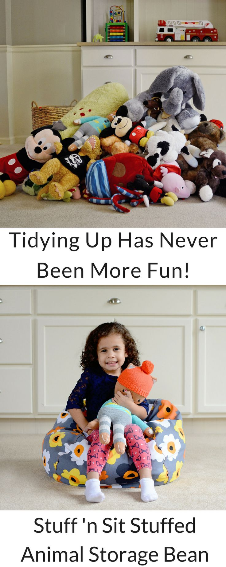 Stuffed Animals taking over your home? Declutter + organize your house today with a Stuff 'n Sit Stuffed Animal Storage Bean Bag. Organizing stuffed animals has never been easier!