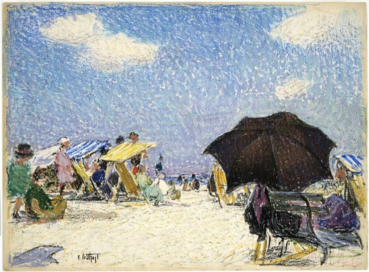 Edward Potthast, American Impressionist, Beach Scene, crayon on bristol paper