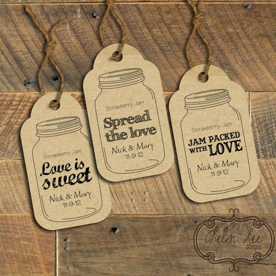 Wedding favor labels: Three customized ready-to-print Mason Jar tags (PRINTABLE) on Etsy, $15.00