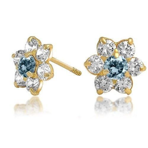Bling Jewelry Kids Aquamarine Color Safety Screw Back CZ Flower Studs 14k Gold