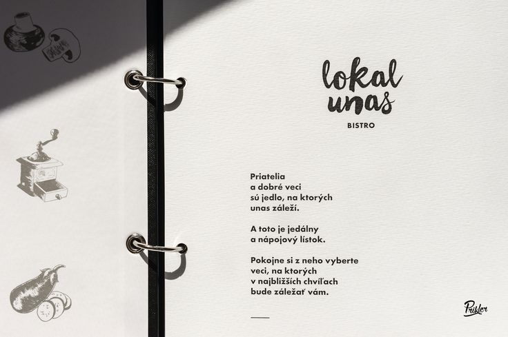 Solution for the LOKAL UNAS menu by #Prikler print atelier. Interchangeable menu pages with the purpose of the quick and easy replacement while still having the significant abrasion resistance. Used printing processes: special lining material designed for the extreme usage, 1.5 mm backing to the millboard provided with metal binding corners, cover finished by the logo hot stamping. Assembling: Heftrings and metal eyelets. Graphic paper: Rives Tradition.  Designed by Truben Studio.