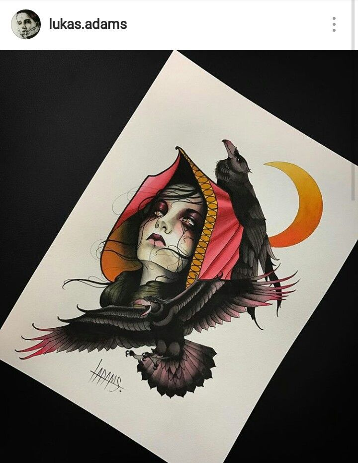Girl Ravens Crow Neo Traditional Tattoo Sketch by Lukas Adams