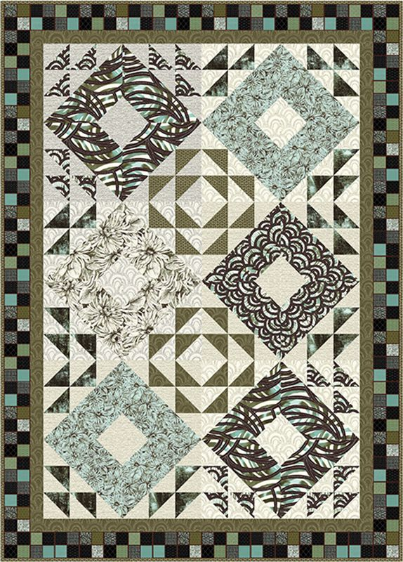 """Check out our FREE """"Piazza"""" quilt pattern using the collection, """"Bellissimo"""" by Michele D'Amore for Contempo Studio. Designed by Diane Nagel. Finished size: 60"""" x 84""""."""