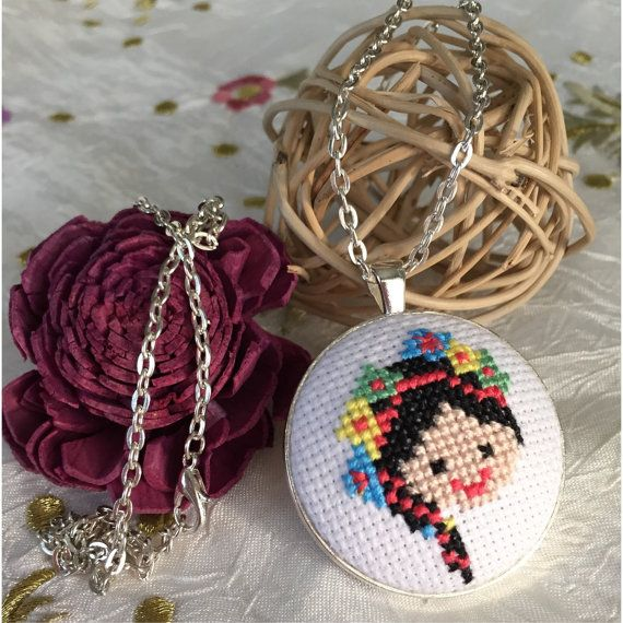 Girl with flower cross stitch necklace/pendant by MotifLand