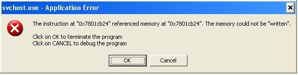svchost.exe application error