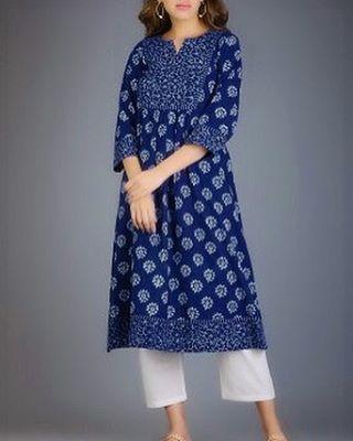 Indigo hand block printed khadi kurta in box pleated style! Inbox/whatsapp +919987324242 for details.