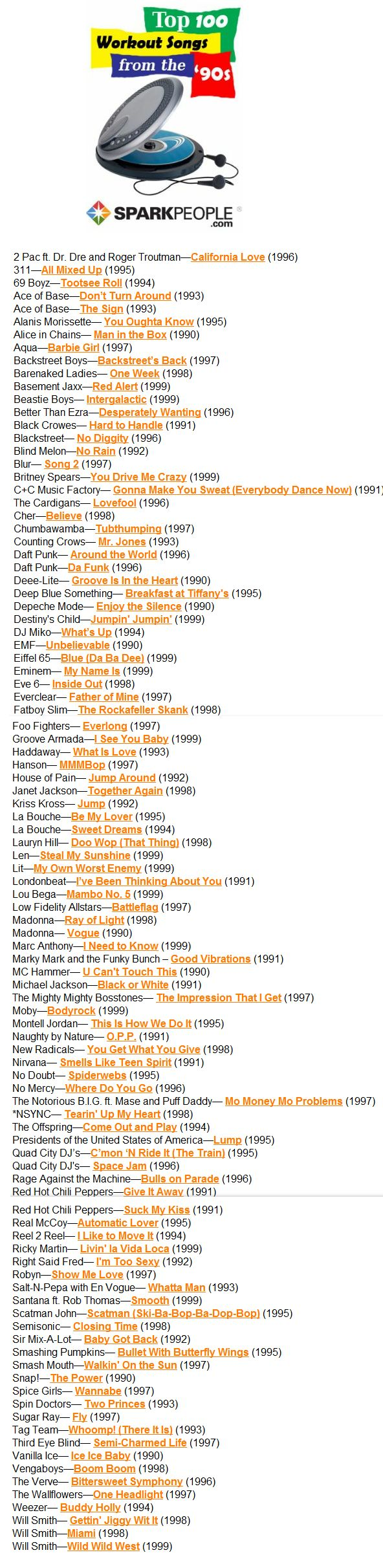 He 100 best workout songs from the 90s http www