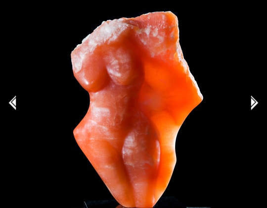 Red Rock Goddess alabaster stone sculpture, by Sharon Gainsburg