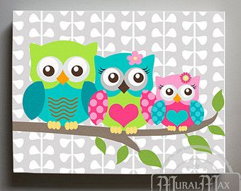 Owl Decor Girls wall art OWL canvas art Baby Nursery by MuralMAX