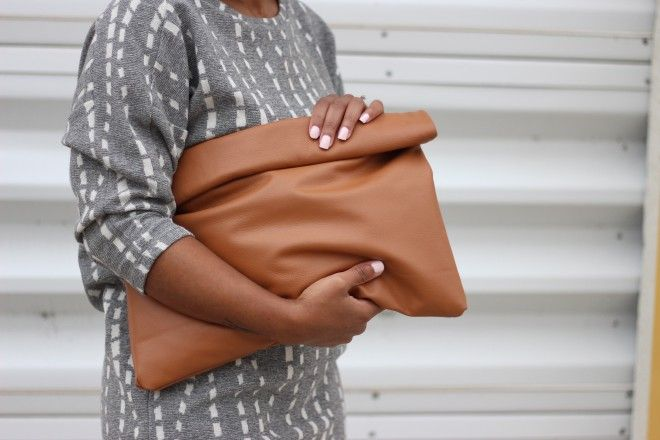 Cognac Oversized Clutch by Love,Cortnie. (Available in other colors) via StyleLust Pages: Gravitate To Gray | Here: http://stylelustpages.com/2016/02/01/13801/