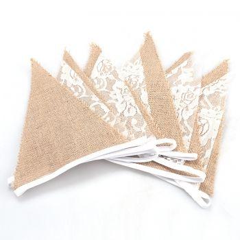 Новая мода ретро 11Flags белье кружево Бантинг Флаги треугольник белого кружева Вымпел свадьбу украшения