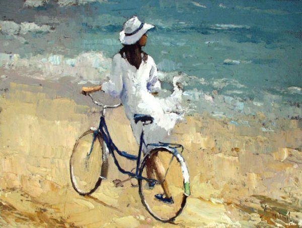 Живопись маслом. Картина «Девочка с велосипедом» Алексея Зайцева