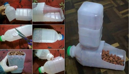 How can we re-use plastic bottles? Here a easy way turn two regular plastic bottles into a cool and cheap pet Feeder. What needed: 2 plastic bottles Pet food Scissors How to do: cut a hole on one of the bottles with scissors. The space should be a little wider …