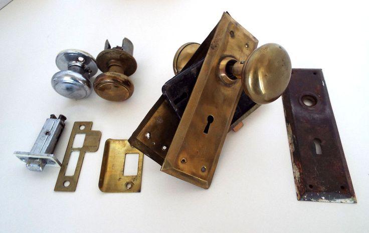 Brass Door Knob Lock Vintage Entry Backplates Knobs Architectural Hardware Lot #Unknown