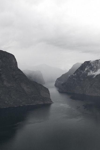 Fjord | Kaye: Natural Photography, Dark Places, Mountain, Black White Photography, Black And White, Beautiful, Travel Tips, Into The Wild, Norway
