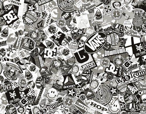 Rimers Bomb Comic - Pegatina (152 x 10 cm, con logotipos reales), color negro y blanco