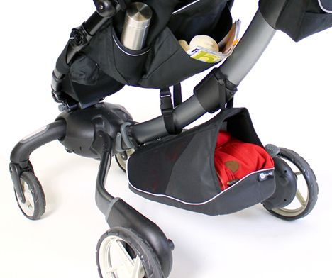 A stroller with an electric generator in a wheel hub to charge your phone. It also has headlights!
