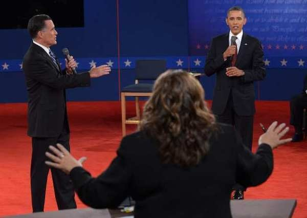 10/17/12  Second Obama-Romney debate draws 65.6 million viewers       Comments  9  Email  Share        Nielsen said more than 65.6 million people watched Republican nominee Mitt Romney debate President Obama at the second presidential debate. CNN's Candy Crowley moderated. (Justin Lane / October 16, 2012)