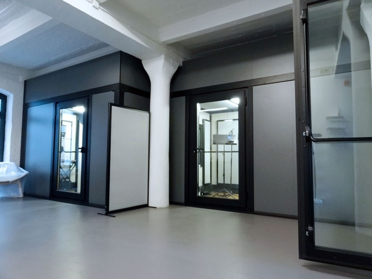 BOXY modular music rooms include fully glazed door - allows viewing of multiple studios from one position. #modulardesign #soundproofrooms #musicstudios #modularbuild #security #safety