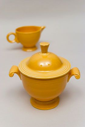 Fiestaware sugar and creamer.
