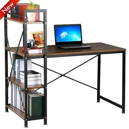 Brown Computer Desk 4Tier Shelving Home Office Study Workstation PC Corner Table