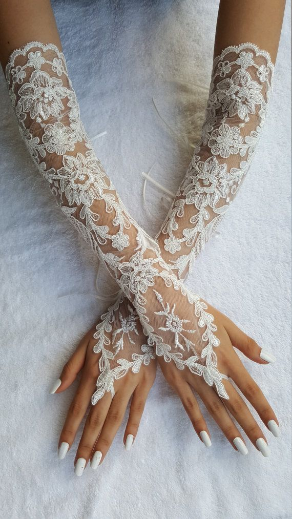 lace gloves wedding gloves fingerless gloves party by UnionTouch