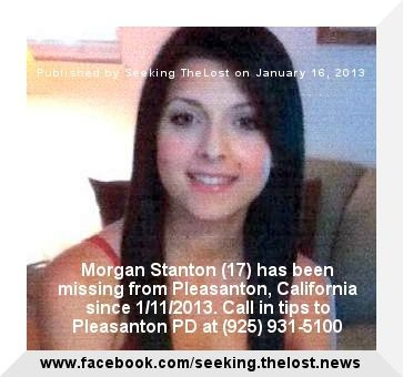 1/16/2013: Please share to locate Morgan Stanton (17) MISSING from PLEASANTON, CALIFORNIA since 1/1... pinned with Pinvolve