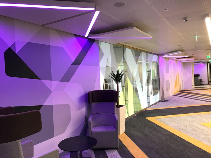Level 39 - Office interior.  Floor to ceiling hand-painted wall murals & glass manifestations.